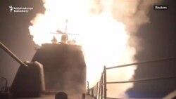 USS Monterey lansînd rachete împotriva unor ținte din Siria