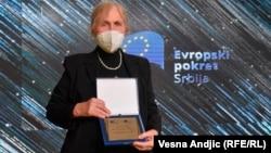 Jelisaveta Vasilić tokom dodjele nagrade 'Doprinos godine Evropi'