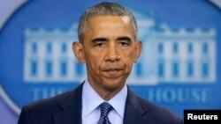 АҚШ президенті Барак Обама Орландодағы шабуылға қатысты мәлімдеме жасап тұр. Вашингтон, 12 маусым 2016 жыл.