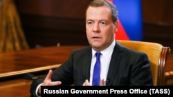 Russian Prime Minister Dmitry Medvedev has also slammed the new U.S. sanctions. (file photo)