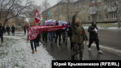 Nationalists march in Barnaul on November 4.