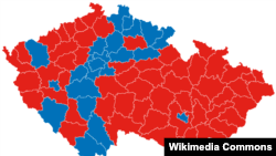 Результаты первого тура выборов (синий цвет - победа Шварценберга)