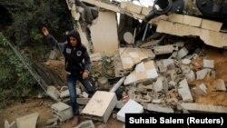 Գազայի հատված - Իսրայելական օդուժի հարվածների հետևանքները Խան Յունիս քաղաքում, 12-ը նոյեմբերի, 2018թ․