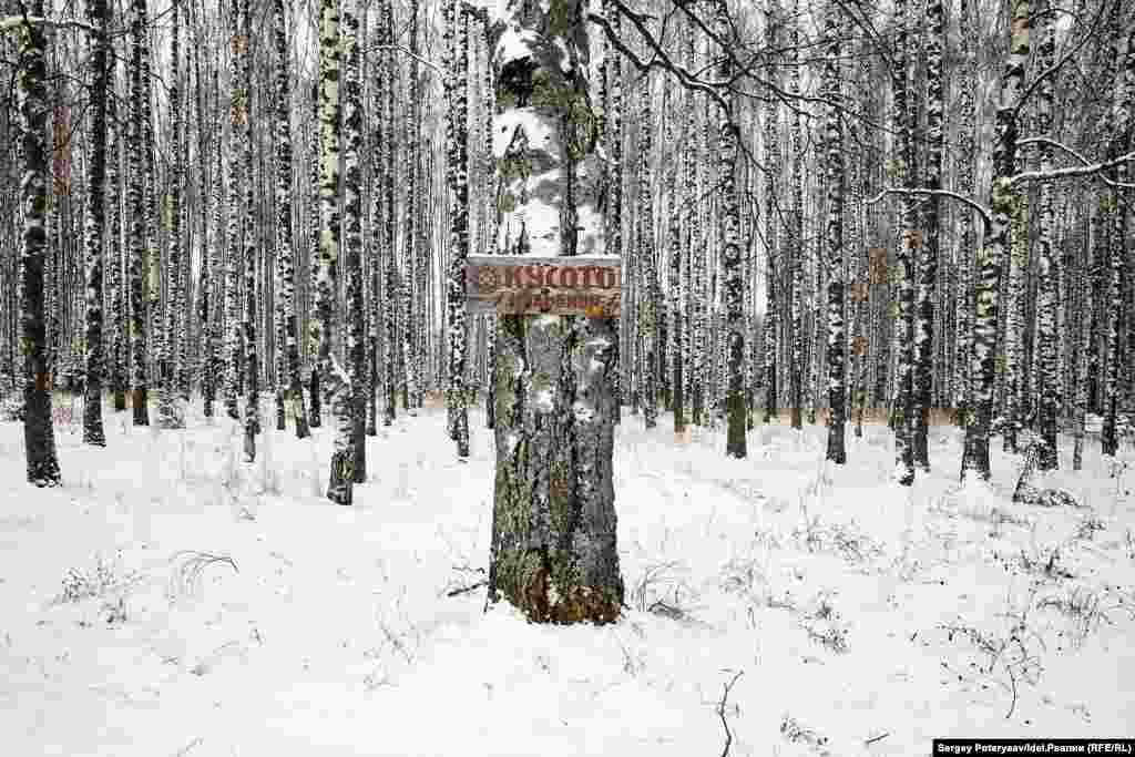 There are thought to be about 400 sacred groves where the Mari people worship. This one is marked by a sign pointing the way to the grove, or Kusoto.