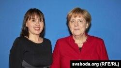 Ганна Канапацкая з канцлерам Нямеччыны Ангелай Мэркель