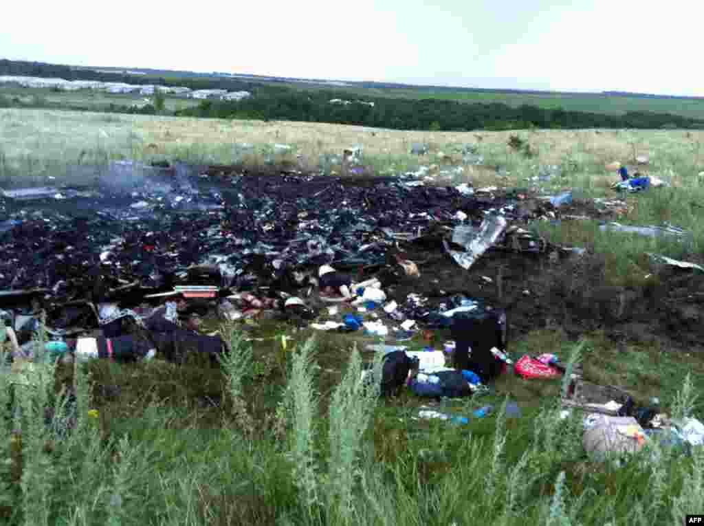 Charred wreckage strewn across a field.
