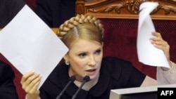 Prime Minister Yulia Tymoshenko during today's debate.
