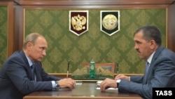 Ингушетия. Владимир Путин и Юнус-Бек Евкуров. Магас, 14 сентября 2015