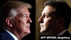 A combo photo shows Ukrainian President Volodymyr Zelenskiy (right) and U.S. President Donald Trump