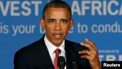 Tanzania -- U.S. President Barack Obama delivers remarks at a business leaders forum in Dar es Salaam July 1, 2013.