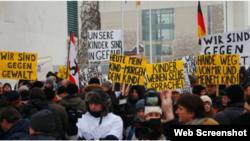 Демонстрация русскоязычных переселенцев в Берлине 23 января