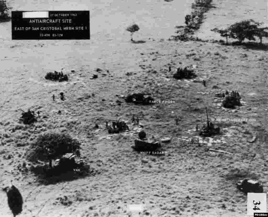 Cuban antiaircraft gunners open fire on low-level reconnaissance planes over San Cristobal Site No. 1 on October 27, 1962. A U-2 reconnaissance plane is shot down, killing the pilot and producing the only casualty of the Cuban Missile Crisis.