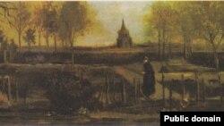Фрагмэнт карціны Вінцэнта ван Гога «Вясновы сад»