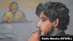 Джохар Царнаев на рисунке из зала суда
