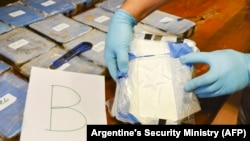 A handout picture released on February 22 by Argentina's Security Ministry that was taken in Buenos Aires during a police sting operation, which resulted in the seizure of nearly 400 kilos of cocaine from the Russian Embassy.