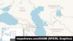 Карта Каспийского моря и прибрежных государств.