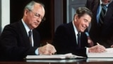 U.S. -- Soviet leader Mikhail Gorbatchev Gorbachev (L) and US President Ronald Reagan sign 08 December 1987 at the Washington summit a treaty eliminating US and Soviet intermediate-range and shorter-range nuke missiles.