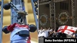 Пикетирование ворот здания парламента: слева – 18 ноября 2019 года, справа – 20 июля 2009 года