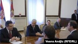 Predsednik Srbije Boris Tadić sastao se sa glavnim tužiocem Haškog tribunala Seržom Bramercom, Beograd, 11. maj 2011.