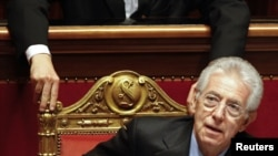 Italian Prime Minister Mario Monti attended the vote of confidence at the Senate in Rome on November 17.