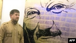 Ramzan Kadyrov at an exhibition devoted to his father in Grozny in early July