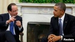 Франция президенті Франсуа Олланд (сол жақта) пен АҚШ президенті Барак Обама. Вашингтон, 11 ақпан 2014 жыл.