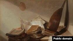 Ян Давідс дэ Хэм, «Натурморт з кнігамі» (1628)