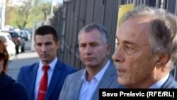 Lideri Ujedinjene reformske akcije (URA), Demosa i Demokratske Crne Gore, Žarko Rakčević, Miodrag Lekić i Aleksa Bečić, oktobar 2015.