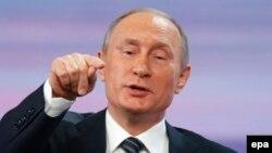 Президент Росії Володимир Путін під час прес-конференції у Москві, 17 грудня 2015 року