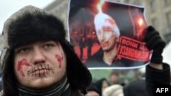 17 январда Киевда парламент томонидан намойишларни тақиқлаш тўғрисидаги қонун қабул қилинишига қарши ўтказилган митинг пайти.
