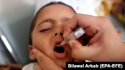 A health worker administers polio vaccine to children during a five-day countrywide vaccination campaign in Peshawar on December 16.