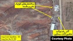 تصویر ماهوارهای از سایت پارچین که پنجم خردادماه ۱۳۹۱ گرفته شده است.