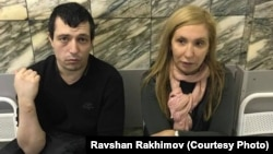 Ravshan Rakhimov (left, with lawyer Roza Magomedova) is accused in Uzbekistan of extremism -- in Moscow.