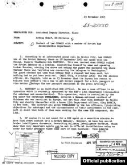 Сообщение резидентуры ЦРУ в Мехико о контакте Освальда с Валерием Костиковым