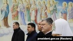 Украинанын президенти Петро Порошенко баштаган лидерлери эскерүү иш-чарасында. 20-февраль, 2018-жыл.