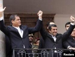 Друзья. Корреа и Ахмадинежад. Президентский дворец Каронделет. Кито.