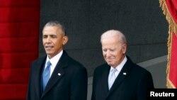 Барак Обама и Џо Бајден присуствуваа на церемониите на инаугурацијата на Доналд Трамп како 45-ти претседател на Соединетите држави во Вашингтон, 20 јануари 2017 година.