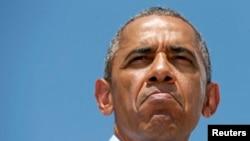 Барак Обама во время выступления в Вилмингтоне 17 июля
