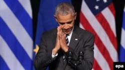 Президент США Барак Обама під час виступув Афінах. 16 листопада 2016 року