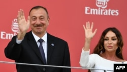Azerbaijani President Ilham Aliyev and his wife, Mehriban, who was recently name the country's first vice president