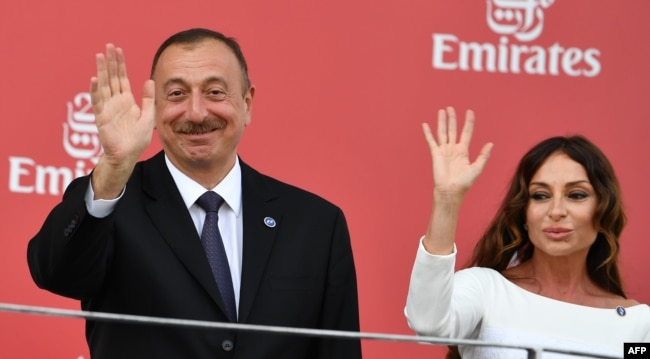 Azerbaijani President Ilham Aliyev (left) and his wife, Mehriban Aliyeva, the country's vice president, at the 2016 Azerbaijan Grand Prix.