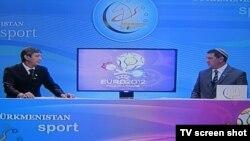 """TÜrkmenistanyň """"Türkmenistan Sport"""" telekanalyndan alnan bir bölek."""