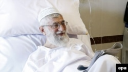 Iranian Supreme Leader Ayatollah Ali Khamenei after having surgery in a hospital in Tehran last month.