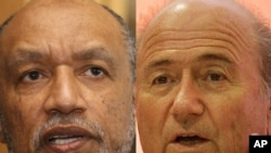 A combo photo shows FIFA President Sepp Blatter (right) and Mohamed Bin Hammam, the Qatari head of the Asian Football Confederation