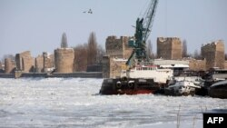 The Danube River has frozen over in the Serbian city of Smederevo.
