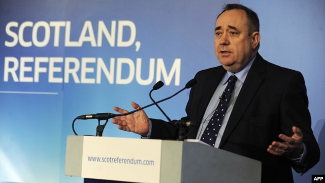 First Minister of Scotland Alex Salmond gives a speech to launch the consultation for an independence referendum in Edinburgh on January 25.