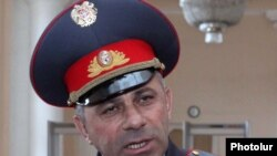 Armenia -- Alik Sargsian, chief of the national police, speaks to journalists, 14Apr2011.