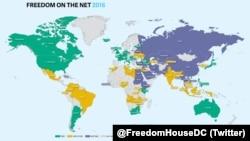 """Карта из отчета """"Свобода интернета – 2016"""" (синим цветом отмечены страны с """"несвободным интернетом"""", зеленым – со свободным)."""