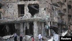 A bombed-out building in Syria's Deir al-Zor
