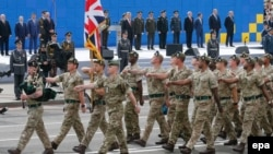 A British Army unit marches on Kyiv's Independence Square in August 2017, during a parade on the occasion of Ukrainian Independence Day celebrations.